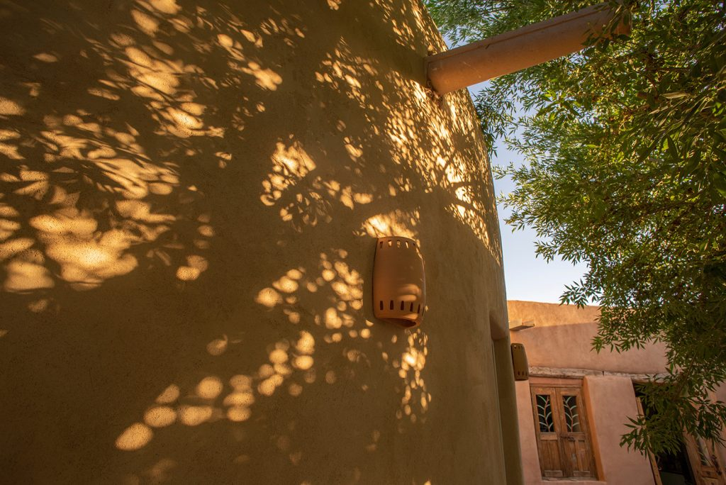Rich Brown Stucco with dappled sunlight
